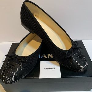 CHANEL ballet flat shoes black tweed fabric 41 10B